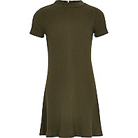 Girls khaki ribbed fit and flare dress