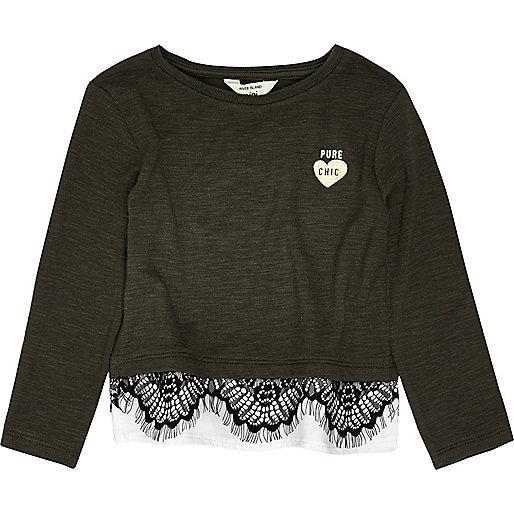 Mini girls khaki lace trim top