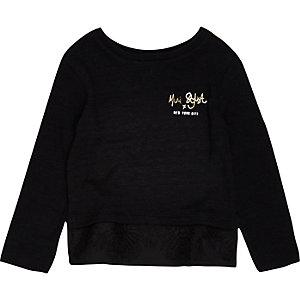 Mini girls black lace hem top