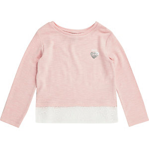 Mini girls blush pink lace hem top
