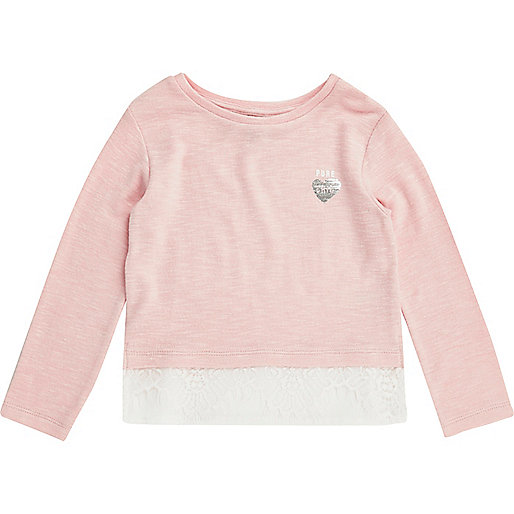 Mini girls blush pink lace hem top