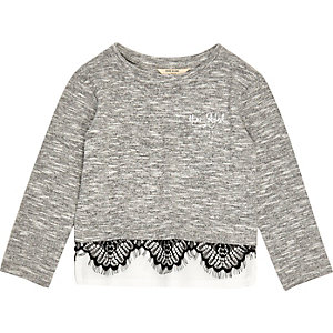 Mini girls grey marl lace trim top