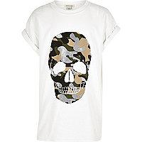 T-shirt blanc imprimé tête de mort pailleté pour fille