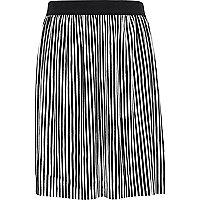 Girls black and white stripe plisse skirt