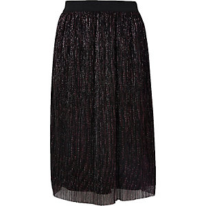 Girls black metallic plisse skirt