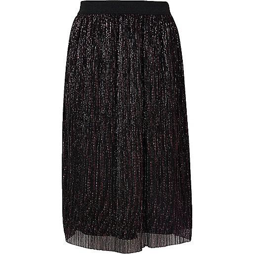 Jupe noir métallisé plissée pour fille