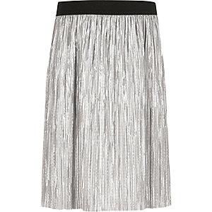 Girls silver metallic pleated skirt