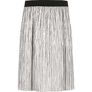 Girls silver metallic pleated skirt