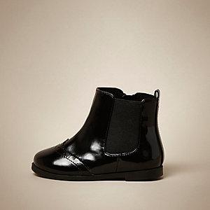 Mini girls black patent Chelsea boots
