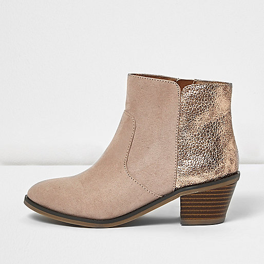 Girls nude western boots with gold croc heel