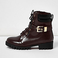 Girls red patent buckle utility boots