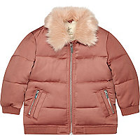 Mini girls pink faux fur puffer coat