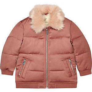 Mini girls pink faux fur puffer coat