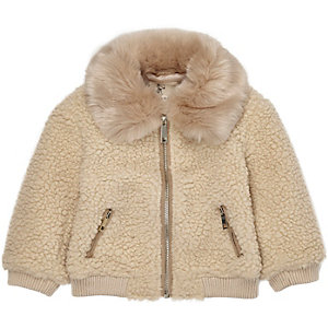 Mini girls light brown fleece teddy coat