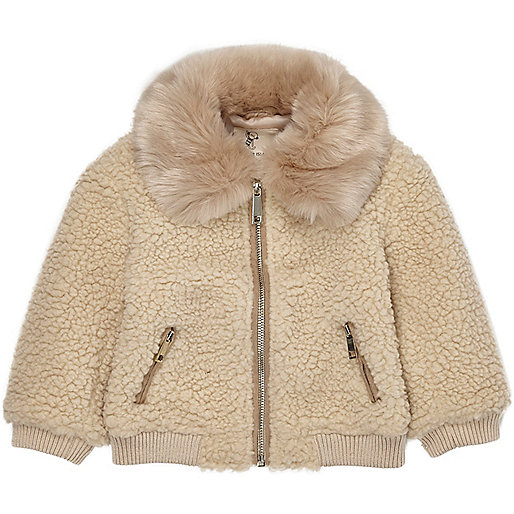 Mini girls light brown fleece teddy coat