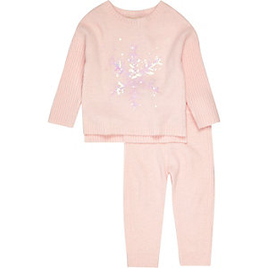 Mini girls pink snowflake sweater set