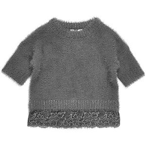 Mini girls grey eyelash knit lace hem sweater