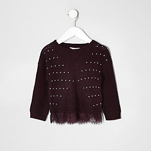 Mini girls dark red knit lace jumper