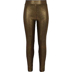 Girls gold metallic print leggings
