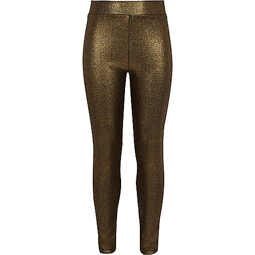 Girls gold metallic print leggings