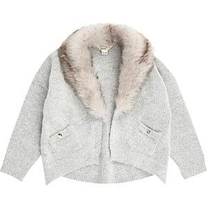 Cardigan en maille gris à bordure en fausse fourrure pour mini fille