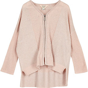 Mini girls pink knit zip cardigan