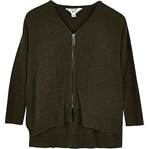 Mini girls khaki green knit zip caridgan
