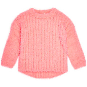 Mini girls bright coral fluffy knit jumper