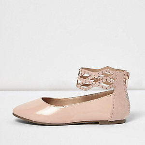Girls cream patent embellished ballet flats