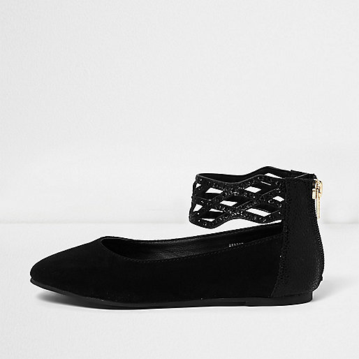 Girls black embellished ballet pumps