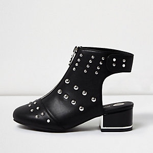 Girls black leather look stud shoe boots