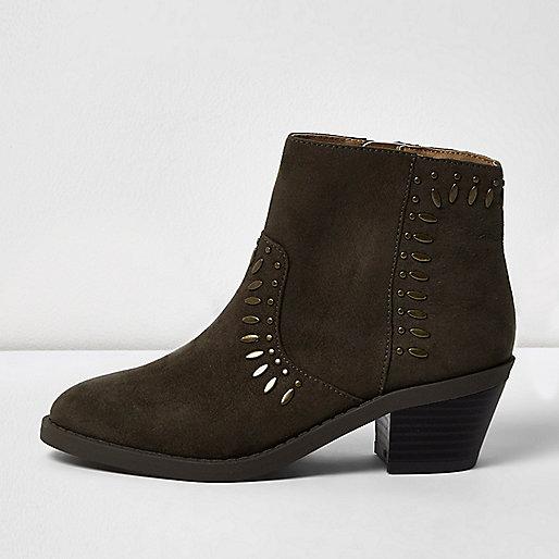 Girls khaki studded Western boots