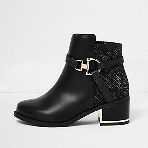Girls black and gold snaffle heel boots