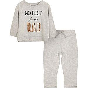 Mini girls grey print pajama set