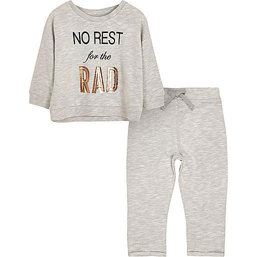 Pyjama imprimé gris mini fille