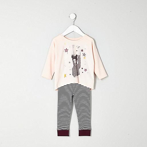 Mini girls pink top stripe leggings pyjamas