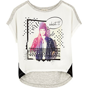 Mini girls white star girl T-shirt