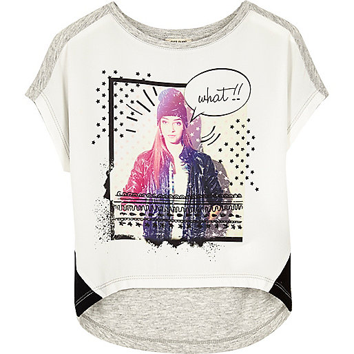 T-shirt blanc star girl mini fille