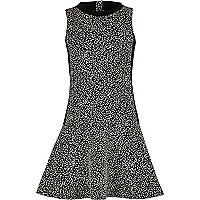 Girls black and white dropped waist dress