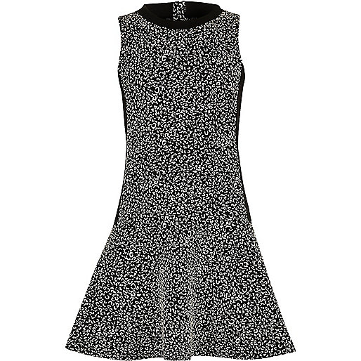 Girls black and white dropped waist dress