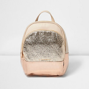 Girls pink glitter pocket backpack