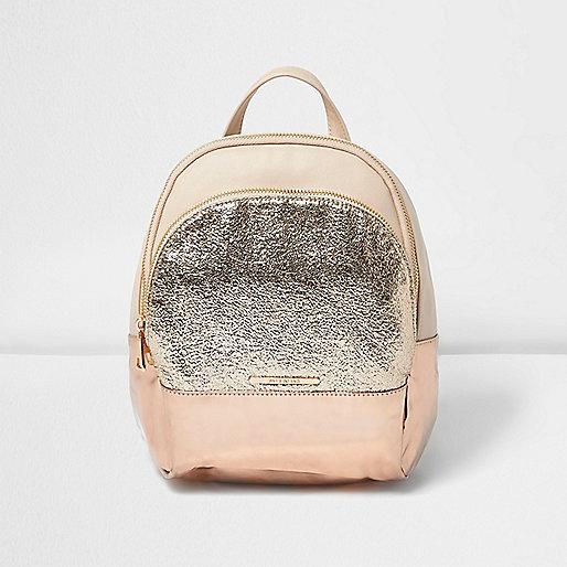 Girls pink glitter pocket backpack