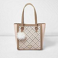 Girls cream laser cut shopper bag