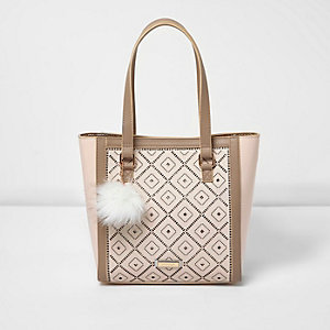 Girls cream laser cut shopper bag