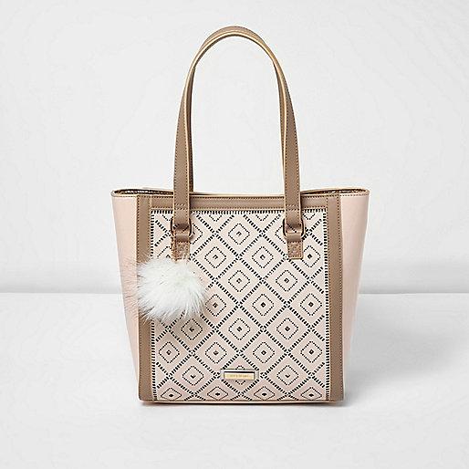 Shopper-Tasche in Creme mit Laserschnittmuster