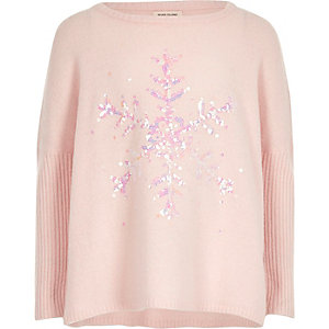 Girls pink sequin snowflake Christmas jumper