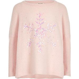 Pull de Noël rose motif flocons de neige à sequins pour fille