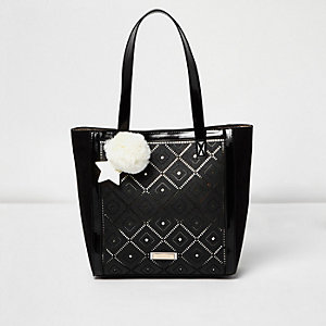 Girls black laser cut shopper bag