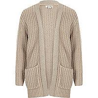 Girls cream chunky metallic knit cardigan