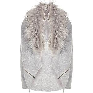 Girls grey marl faux fur collar cardigan